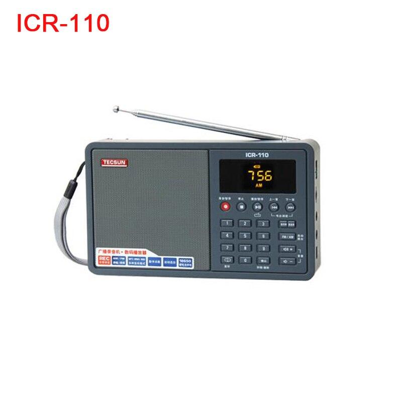 Tecsun ICR-110 ICR110 AM FM Radio Portable Speaker Voice Recorder WAV WMV Mp3 TF Digital Audio Player