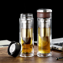 Glass Bottle With Tea Infuser Double Wall Portable Travel Outdoor Tumbler Bottles Home Office Drinkware for Car 350ML