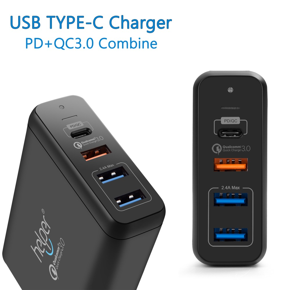 Multi Port USB Wall Charger 75W 4 Ports & Quick Charge 3.0 Desktop Charger Charging Station with SmartIC Tech, USB Type-C usb type c pd charger 75w 4 ports usb c pd quick charge 3 0 smart desktop charger with power delivery for xiaomi air dell xps