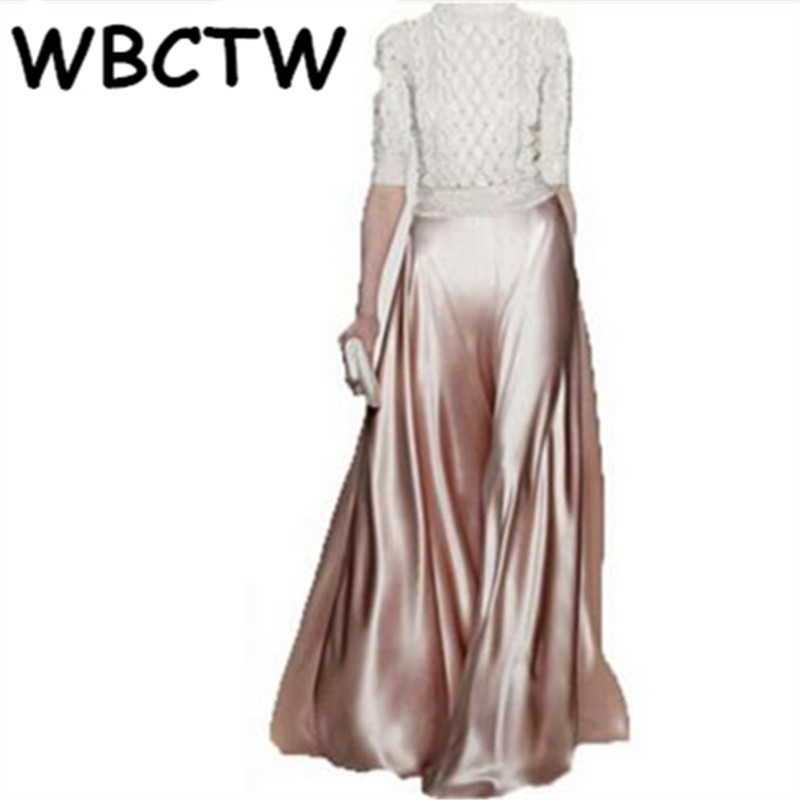 WBCTW Loose   Pants   Runaway Satin Maxi   Wide     Leg     Pants   Women 2018 Autumn High Waist Black Skirt   Pants   8XL 9XL 10XL Plus Size