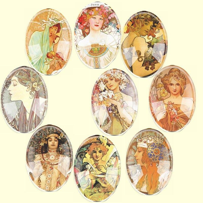 Cristal hecho a mano tamaño mixto Oval Paris niñas Flatback camafeo cabujón abovedado DIY joyería encanto foto colgante ajuste