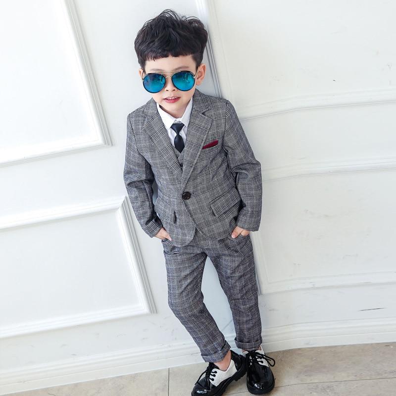 2019 Blazer Vest Pants Boy Blazer Plaid Suits Kids Boys Dresses Boys Suits Set Formal Boy