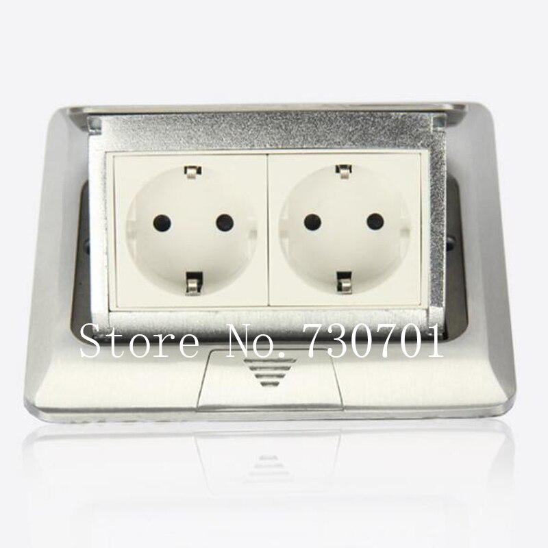 (Expédier de RU) aluminium argent panneau EU Standard Pop Up prise de sol prise électrique/prise de terre 2 pièces/ensemble livraison gratuite