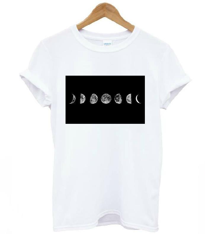 Harajuku full moon Print Women T shirt Cotton Casual Funny Shirt For Lady White Top Tee Hipster Drop Ship T-207