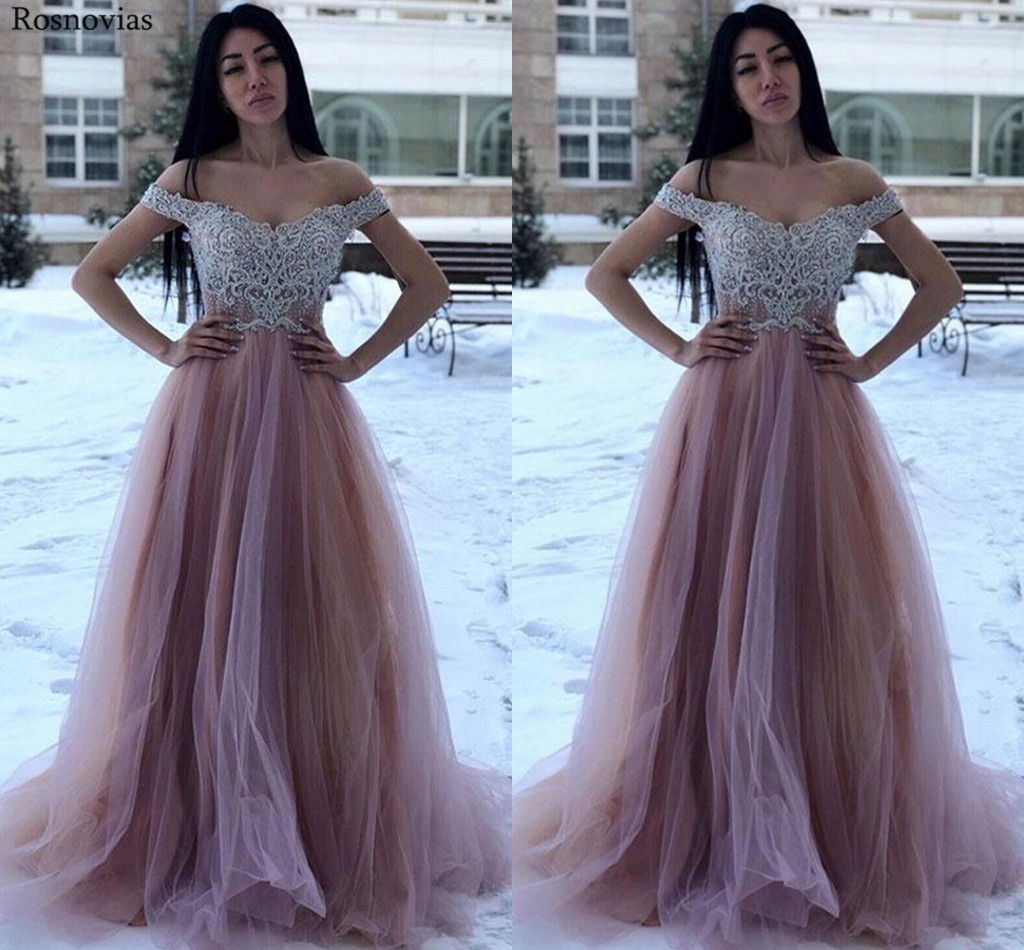 Off Shoulder Long   Prom     Dresses   2019 Sweep Train Lace Appliques Beaded A Line Evening Party   Dresses   Formal Gowns Vestido Custom