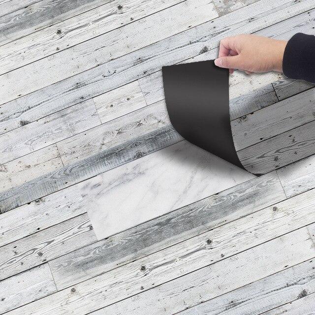 Серый Древесины Самоклеющиеся пол стикеры s Винтаж водостойкие обои для спальня плитка для дорожек домашний декор