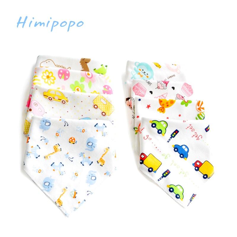 HIMIPOPO 6Pcs Lot Baby Cotton Bibs Kids Cartoon Printing Soft Newborn Toddler Triangle Scarf Infant Burp