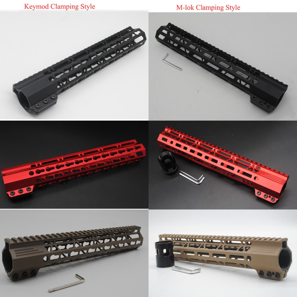12'' inch Monolithic Top Handguard Rail Picatinny Free Float Mount System Black/Red/Tan Keymod / M-lok Clamping Style