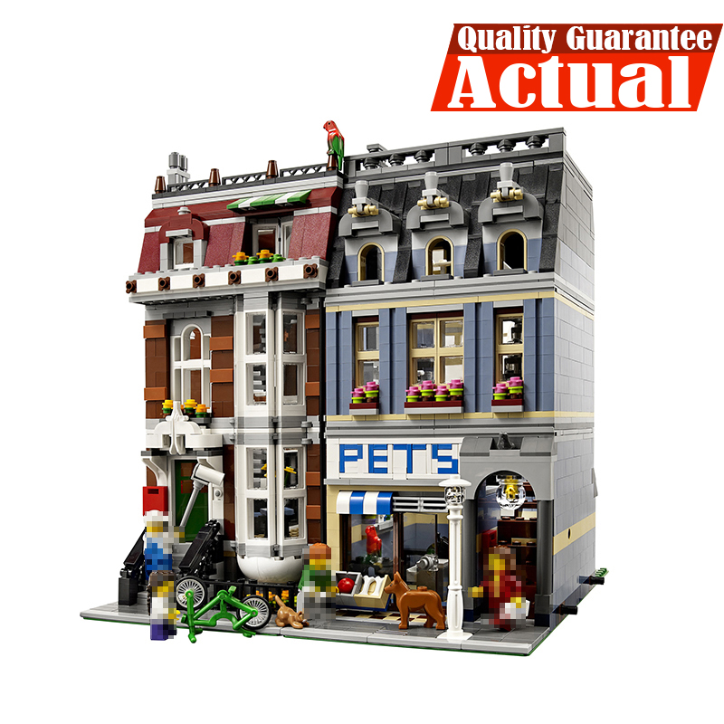 LEPIN 15009 Pet Shop Street View Creator Building Blocks Bricks Toys Educational For Children Compatible with legoINGly 10218 compatible city lepin 02005 889pcs the volcano exploration base 02005 building blocks policeman educational toys for children