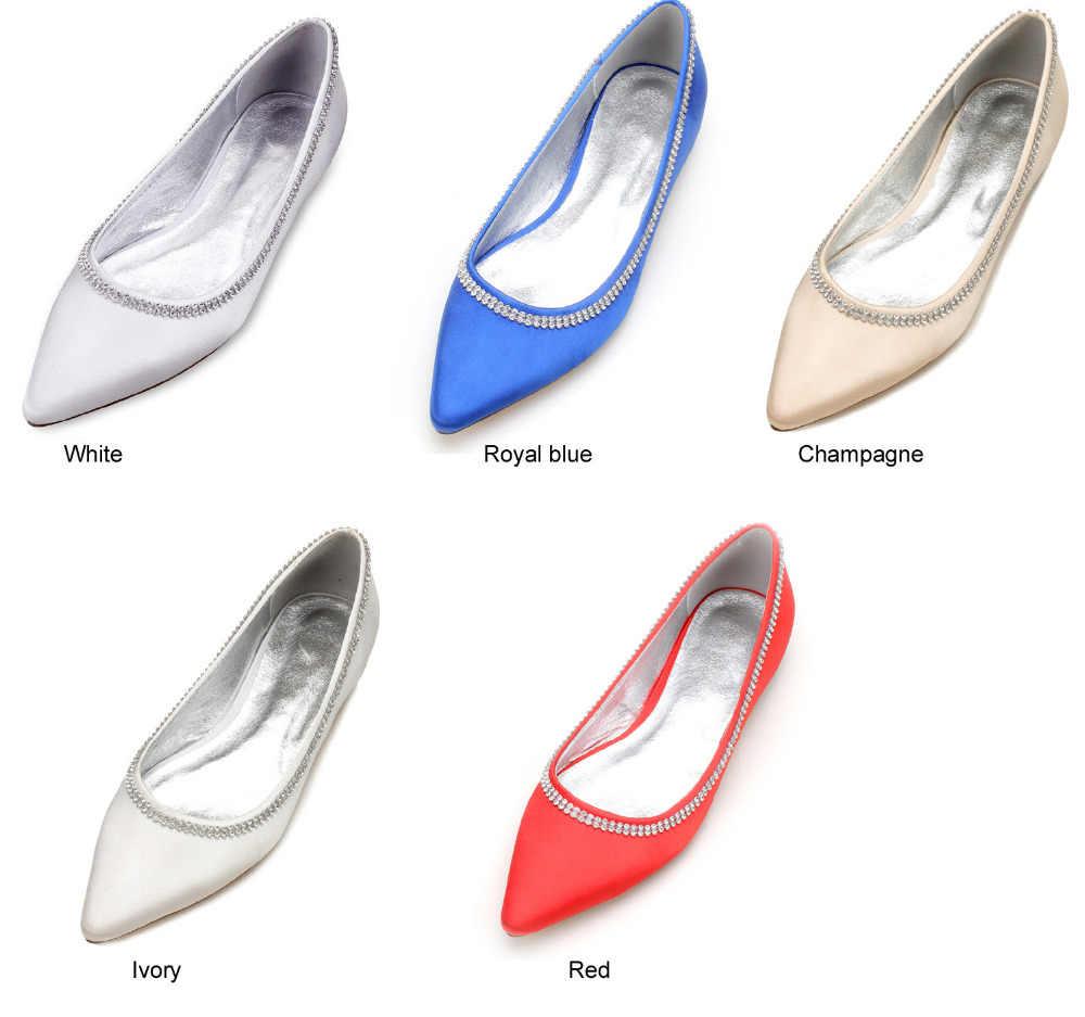 ... Creativesugar elegant rhinestone chain slip on satin evening dress flat  shoes flats bridal wedding prom shoes ... 810876c899b3