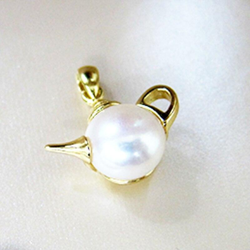 Pingente de Prata Esterlina 925 Design Exclusivo das mulheres Bule Forma Presente Bonito Pingente de Pérola Moda Branco Pérola de Água Doce Jóias