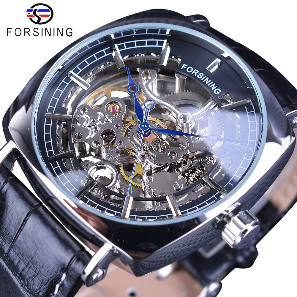Forsining Fashion 2018 Design Black Silver Skeleton Leather Belt Square Dial Mens Mechanical Automatic Watches Top Brand Luxury mens mechanical watches top brand luxury watch fashion design black golden watches leather strap skeleton watch with gift box
