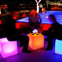 60 см светодиодный cube стул для наружного вечерние светодиодный Glow Куба табуреты светодиодный световой барный стул Цвет Сменные