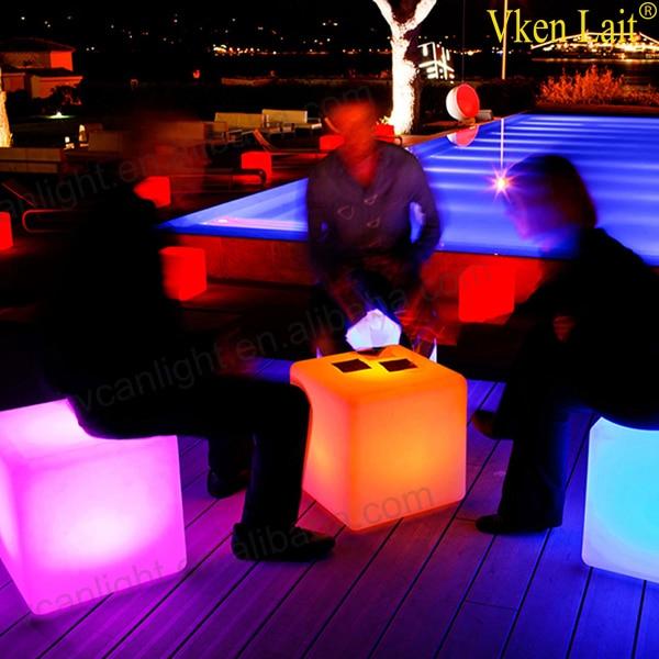 60 см LED куб стул для наружной вечеринки Led светящийся куб стул Led светящийся свет бар стул цвет сменный