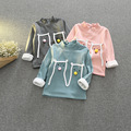 Children's clothing 2017 девушки милые футболки шаблон волосы мяч высокий воротник плюс толстый кофты 2-7 год SY351
