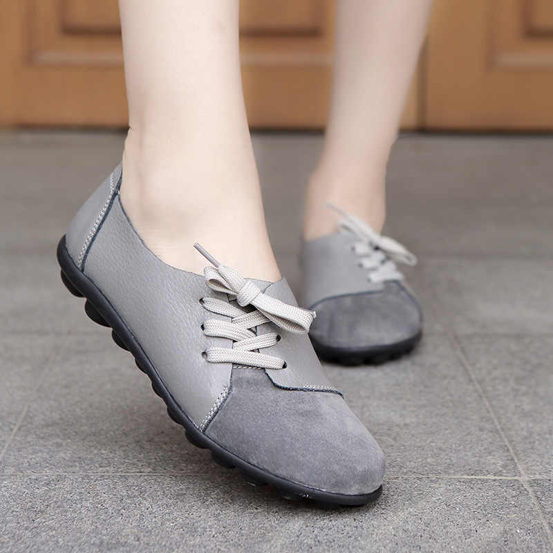 Casual schoenen vrouwen ronde neus kruis gebonden loafers Patchwork Gary Boot schoenen flats plus size 35-44 Echt Leer schoenen vrouw