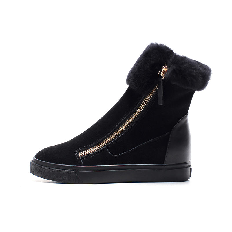 Image 4 - FEDONAS Top Quality Cow Suede Genuine Leather Warm Wool+Plush Snow Boots Women Wedges Heels Zipper Ankle Boots Shoes Woman-in Ankle Boots from Shoes