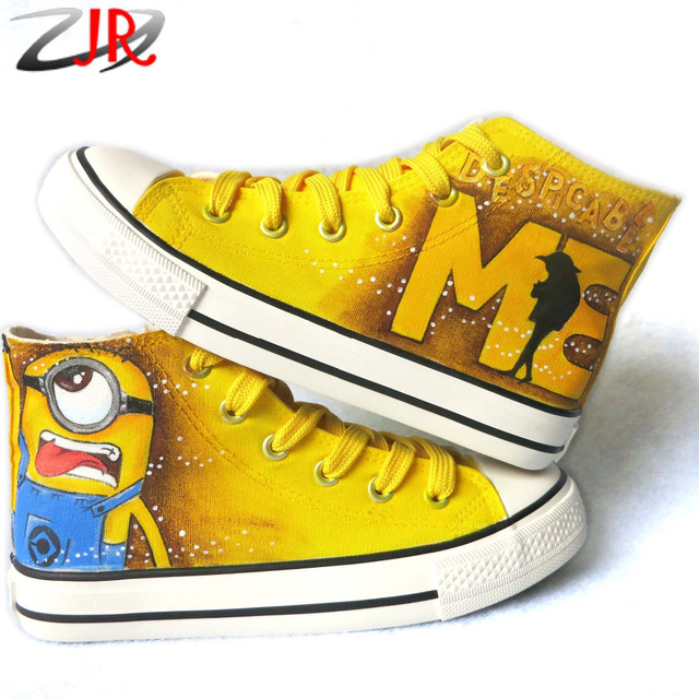 56420edf1ed3 Minion Tongue Out Hand Painted Kids Casual Shoes Minions Fashion Children  Sneakers Lace-Up Canvas Shoes for Boys Girls
