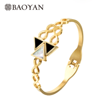 Baoyan Classic Triangle Geometric Shell Bangles For Women Gold Stainless Steel Bracelet Women Bracelet Manchette Femme Wholesale недорго, оригинальная цена