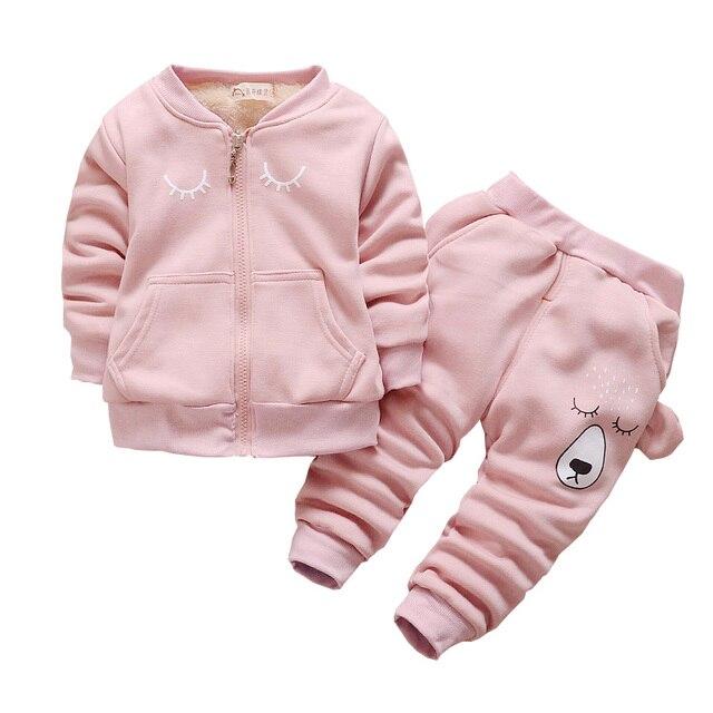 d9fe0b7df BibiCola Little Girl Clothing Set Baby Boy Hooded+Pants Autumn Warm ...