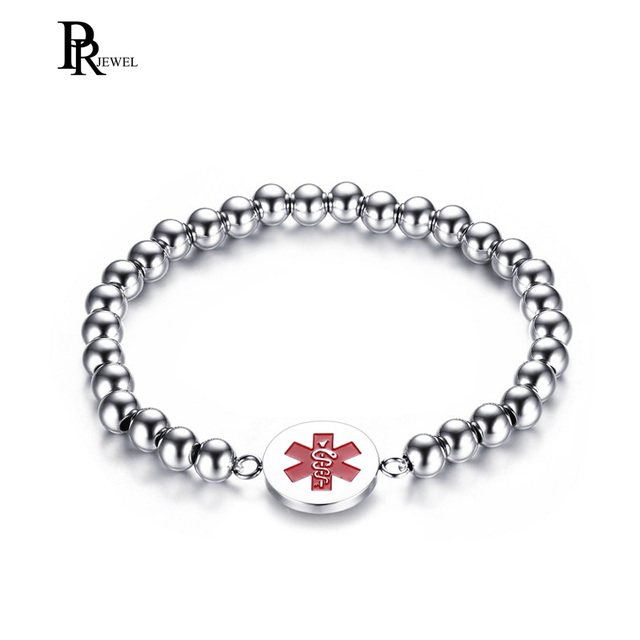 Free Engraving Stainless Steel Medical Alert Id Bracelets Beaded For Women With Elastic Wrist Strap