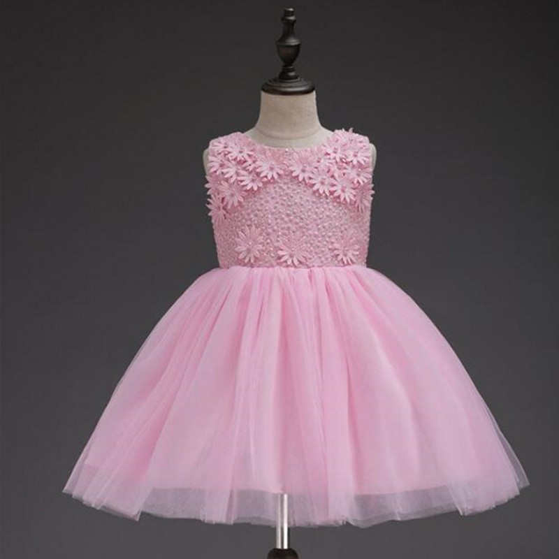 Flower Beaded Princess Toddler Pink girls Dresses Summer 2018 Halloween Party Girl tutu Dress kids dresses for Girls Clothes