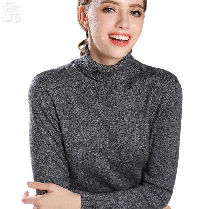 Colori Delle Donne 100% Cashmere A Collo Alto Pullover Swater Solido delle Donne Costola Collare Maglie e Maglioni Knit Top Femminile Maglione 2019 Esplosioni-in Pullover da Abbigliamento da donna su  Gruppo 1