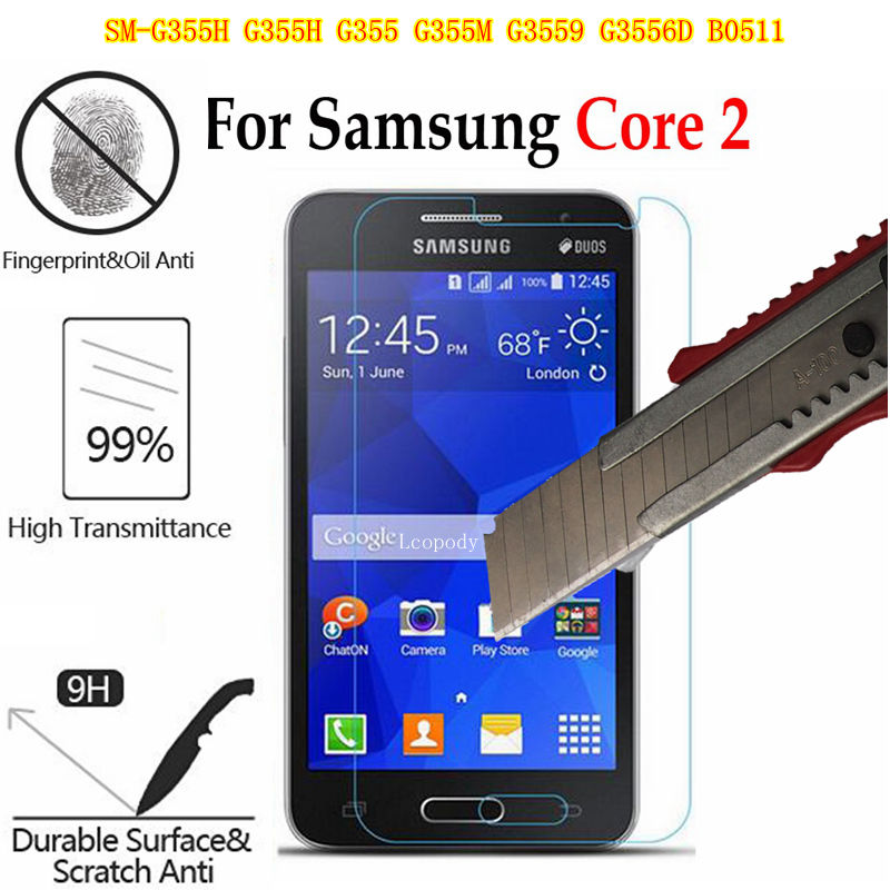 Tempered glass screen protector FILM FOR <font><b>Samsung</b></font> Galaxy Core 2 II <font><b>SM</b></font>-<font><b>G355H</b></font> <font><b>G355H</b></font> G355 G355M G3559 B0511 GLAS sklo an mobil <font><b>case</b></font> image