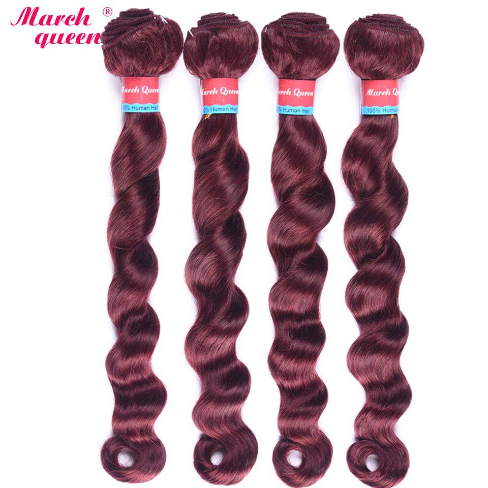 "Marchqueen Pre-Colored Brazilian Loose Deep Wave 4 Bundles 100% Human Hair Weave #99J Red Wine Color Non Remy Hair Weft 10""-24""(China)"