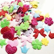 Suoja случайная смесь цветов 50/200 шт./упак. блеск фетр на Хлопчатобумажной Подкладке с бантом и цветочным рисунком для девочек в форме сердца в форме звезды Бабочка кукла ремесло Аппликации