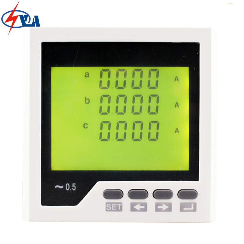 3AA3Y  frame size 96*96mm three-phase lcd display ac digital ampere meter with one switch output me 3h61 72 72mm led display 3 phase digital power factor meter support switch input and transmitting output