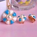 Sistemas de la Joyería de Esmalte esmalte de la Seta Colgante de Collar y Pendientes de La Perla Simulada Mujeres Wedding Party Set di Gioielli Ouro Bijoux