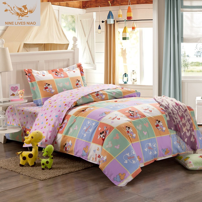 cartoon kids bedding sets full size duvet quilt cover set without comforter round corner bed. Black Bedroom Furniture Sets. Home Design Ideas