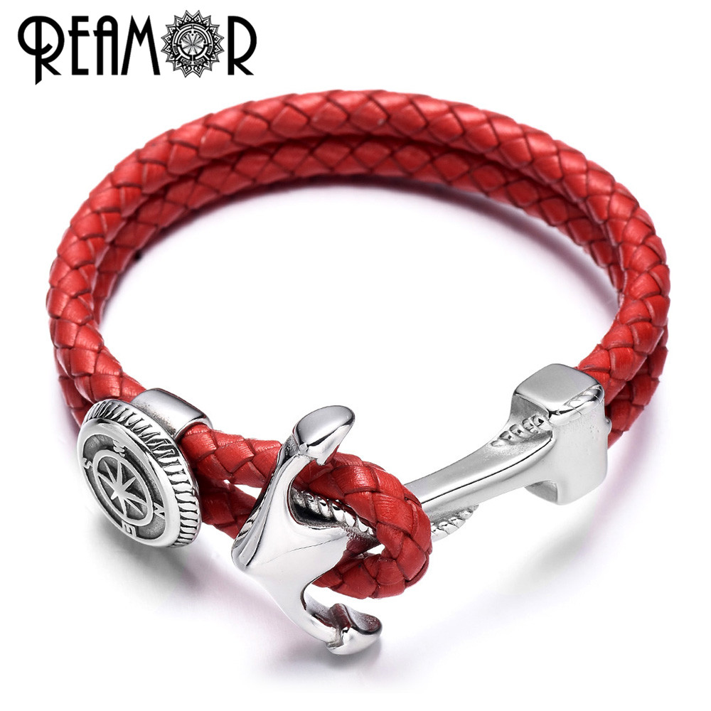 REAMOR Stainless Steel Anchor Connector Charms Men Bracelets Genuine Braided Double Leather Bracelet Wristband Bangle Jewelry anchor pu leather braided bracelet