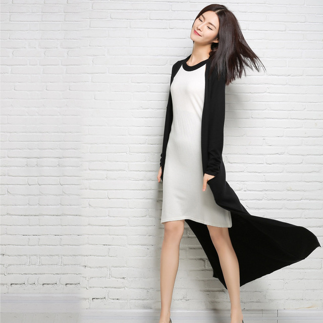 Maxi long Fashion Knitting Cardigan 2018 New Autumn Sweaters Coat Female Sweaters Women Long Sleeve Sweaters Coat Black Pink