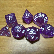 Free shipping NEW SUPER COOL BEAUTIFUL 7pcs/set D4 D6 D8 D10 D10 D12 D20 glitter purple dice for board game accessories