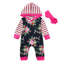 Infant Baby Boys Long Sleeve Floral Striped Print Romper Jumpsuit Winter Thick Warm Cashmere Sweater Hoodie Clothes(China)