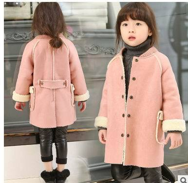 2016 Winter New Girl Coat Cashmere Lining Woolen Long Sleeve Fashion Outerwear Children Clothing 2-6Y Q322