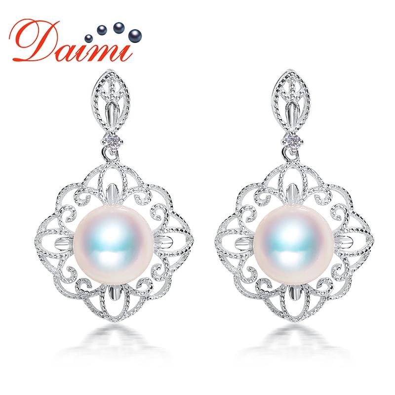 DAIMI New Design Earrings 925 Silver Earrings 8-8.5mm Akoya Pearl Drop Earrings rectangle design drop earrings