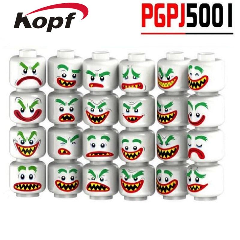 24Pcs/Set Building Blocks Super Heroes Joker Face Emoji Expression Color Cool Man Boy DIY Bricks Toys for children PGPJ5001