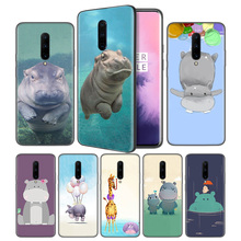 Cute animal cartoon hippo Soft Black Silicone Case Cover for OnePlus 6 6T 7 Pro 5G Ultra-thin TPU Phone Back Protective