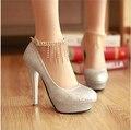 Мода rhinestone свадебная обувь ультра высокие каблуки принцесса секс партия обуви кристалл женские насосы туфли на платформе красное золото белый