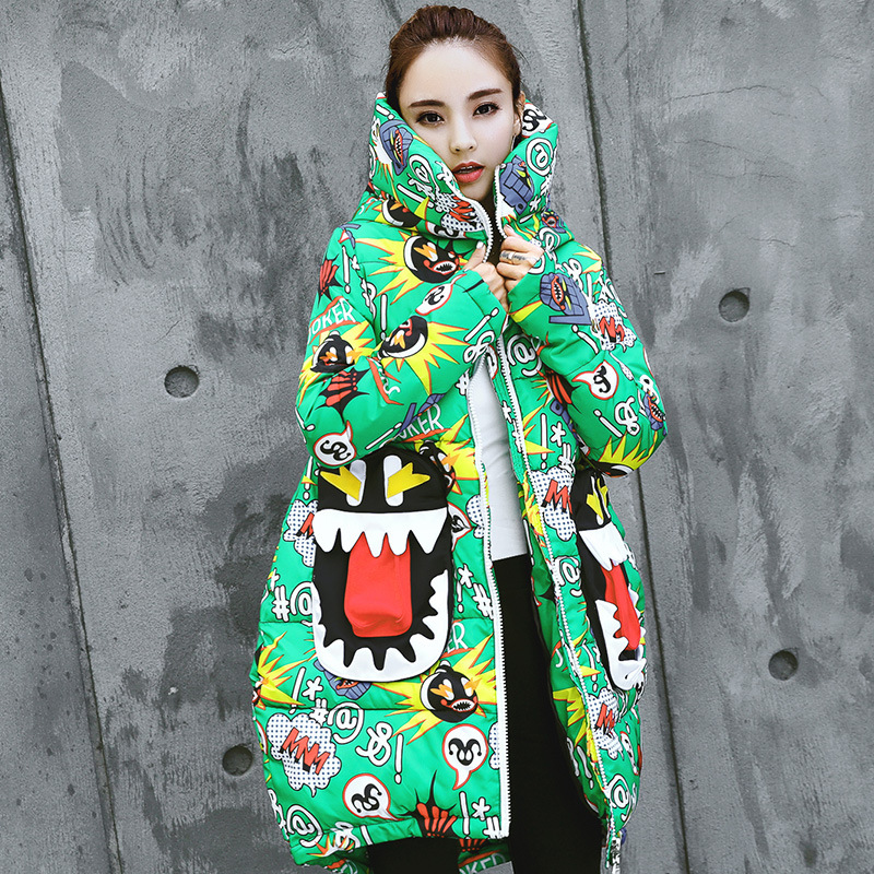 Winter Harajuku Print Parka Winter Jacket Women Hooded Cotton Padded Jacket Long Coat Thicken Warm Chic Outerwear U532-in Parkas from Women's Clothing    1