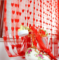 1 * 2 m romántico corazón persecución línea de puerta de la boda / amor cortina de la sala de estar decorada la cortina de entrada