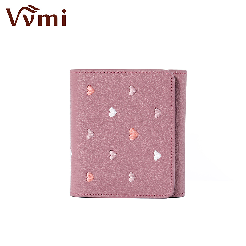 Vvmi new 2017 brief paragraph head layer cowhide leather wallet female folding mini buckles change a small purse luxberry декоративная наволочка imperio 7 цвет экрю 40х40