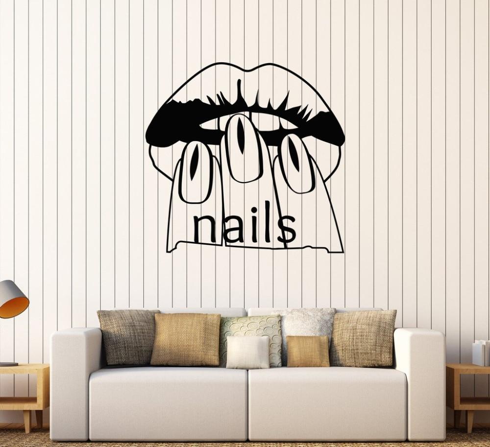 Nail salon schoonheid vrouw muurstickers vinyl muurtattoo manicure ...