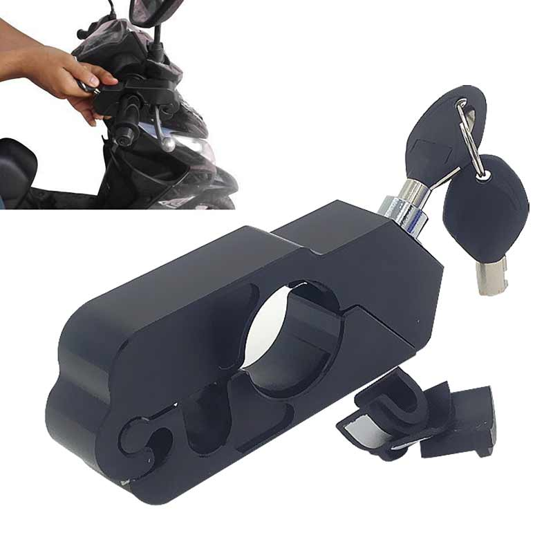 Black Aluminum CNC Motorcycle Handle Throttle Grip Security Black Lock Motorcross Motorbike Handlebar Handset Lever Lock