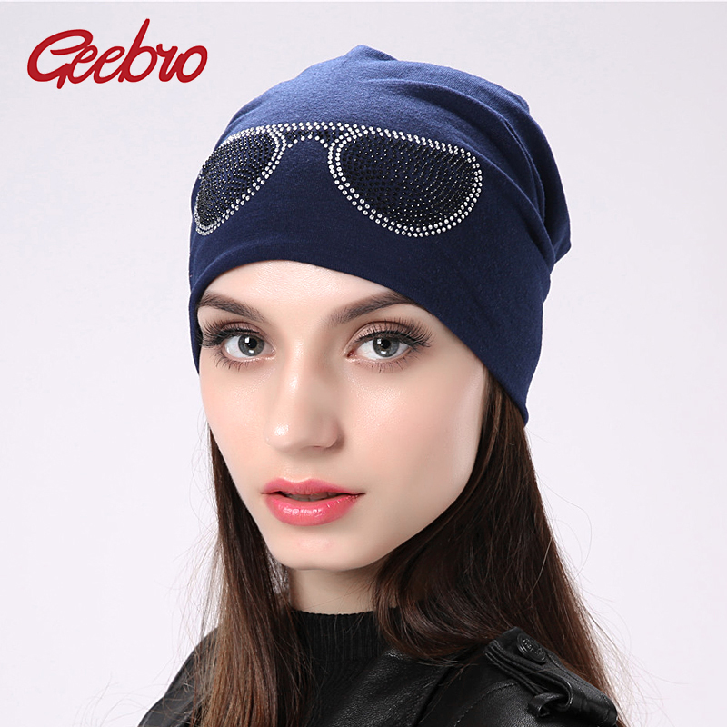 Geebro women's glasses design   beanie   hats for girls gorras   skullies     beanies   for women knitted female bonnet hat with Rhinestones