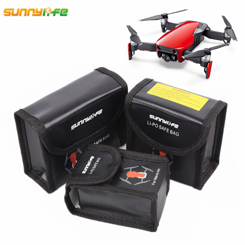 Sunnylife For DJI Mavic Air Accessories LiPo Battery Explosion-proof Bag Fireproof Protective Storage Box Lipo Battery Safe Bag