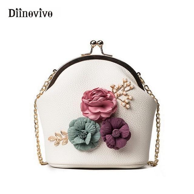 208a6dc59 DIINOVIVO Fashion Women Handbag Flowers Luxury Shoulder Bag Small Tote  Ladies Purse Designer Bolsas Feminina Sac A Main WHDV0437